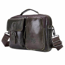 Load image into Gallery viewer, Men's Vintage Bullhide Messenger/crossbody Bag Blackishgreen Premium Leather