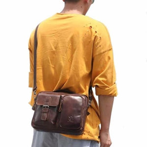 Men's Vintage Bullhide Messenger/crossbody Bag Premium Leather