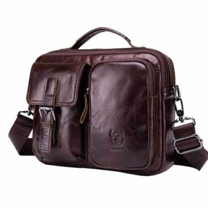 Men's Vintage Bullhide Messenger/crossbody Bag Brown Premium Leather