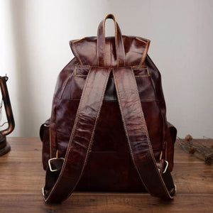Men's Waxed Original Leather Fashion Travel Bag & Backpack Premium Leather