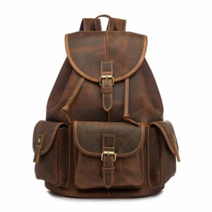 Men's Waxed Original Leather Fashion Travel Bag & Backpack Brown / 13 Inches Premium Leather