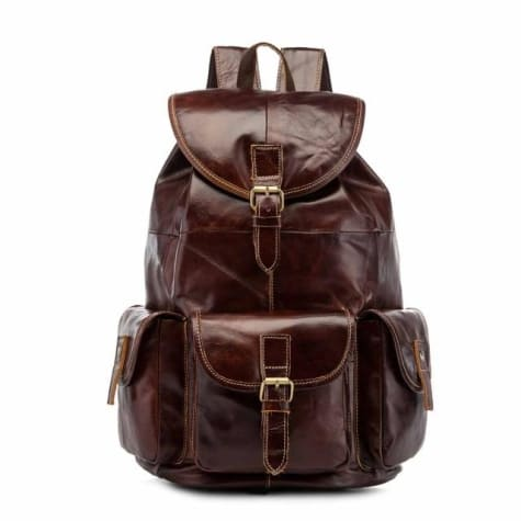 Men's Waxed Original Leather Fashion Travel Bag & Backpack Coffee / 13 Inches Premium Leather