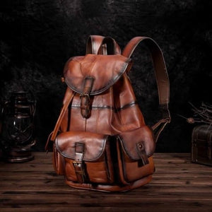 Men's Waxed Original Leather Fashion Travel Bag & Backpack Orange / 13 Inches Premium Leather