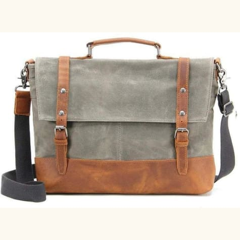 Messenger Bag Travel Bag. Leather/canvas Waterproof And Waxed
