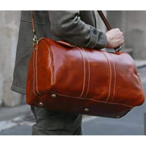 Modern Leather Carry Lite Holdall Travel & Luggage Bag Brown Premium Leather
