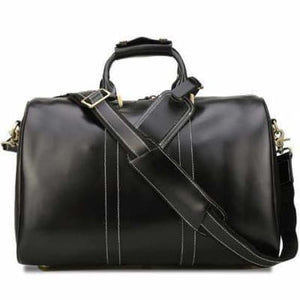 Modern Leather Carry Lite Holdall Travel & Luggage Bag Black Premium Leather