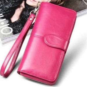 Morning Flower Women's Leather Wrist Wallet Clutch Rose Red Premium Leather