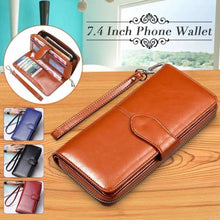 Load image into Gallery viewer, Morning Flower Women's Leather Wrist Wallet Clutch Brown Premium Leather