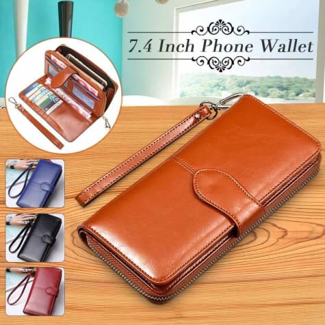 Morning Flower Women's Leather Wrist Wallet Clutch Brown Premium Leather