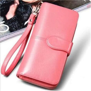 Morning Flower Women's Leather Wrist Wallet Clutch Watermelon Red Premium Leather