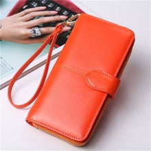 Load image into Gallery viewer, Morning Flower Women's Leather Wrist Wallet Clutch Orange Premium Leather