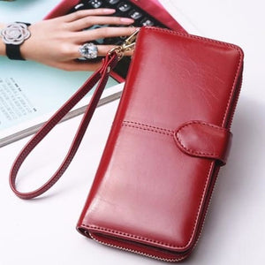 Morning Flower Women's Leather Wrist Wallet Clutch Wine Red Premium Leather