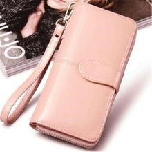 Load image into Gallery viewer, Morning Flower Women's Leather Wrist Wallet Clutch Light Pink Premium Leather