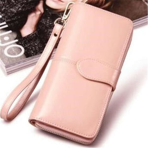 Morning Flower Women's Leather Wrist Wallet Clutch Light Pink Premium Leather