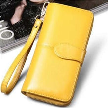 Load image into Gallery viewer, Morning Flower Women's Leather Wrist Wallet Clutch Mango Yellow Premium Leather