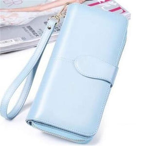 Morning Flower Women's Leather Wrist Wallet Clutch Light Blue Premium Leather