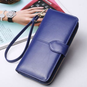 Morning Flower Women's Leather Wrist Wallet Clutch Dark Blue Premium Leather