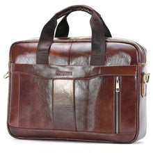Load image into Gallery viewer, Natural Leather Business Messenger Laptop and Shoulder Bag