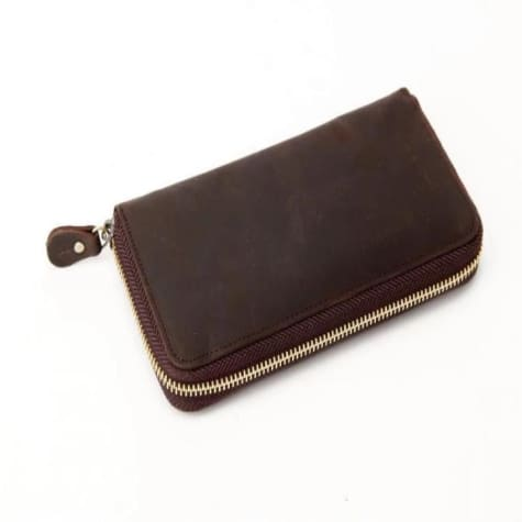 New Grain Leather Money Purse & Long Wallet Dark Brown Premium Leather