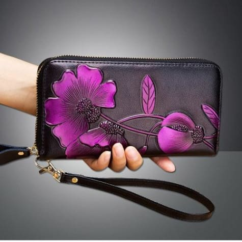 New Ladies top Grain Leather Long Wallet Plum Premium Leather