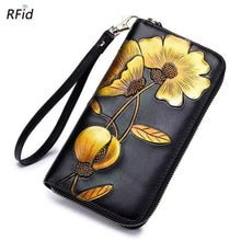 Load image into Gallery viewer, New Ladies top Grain Leather Long Wallet Yellow Premium Leather