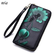 Load image into Gallery viewer, New Ladies top Grain Leather Long Wallet Green Premium Leather
