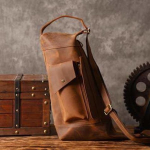 New Large Leather Sling & Shoulder Backpack Vintage Brown Premium Leather