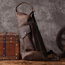 Load image into Gallery viewer, New Large Leather Sling & Shoulder Backpack Premium Leather