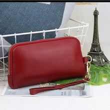Load image into Gallery viewer, New Morning Authentic Leather Clutch/wrist Wallet Wine Red Premium Leather