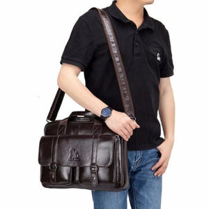 Nubuck Leather Business Cross Body Messenger Bag Premium Leather