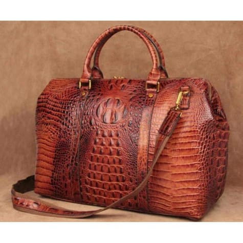 Opulant Full Leather W/ Pattern Handbag & Crossbody Bag