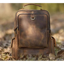 Load image into Gallery viewer, Outdoorsman's Saddle Leather Hiking & Travel Backpack Brown Premium Leather