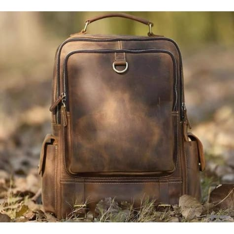 Outdoorsman's Saddle Leather Hiking & Travel Backpack Brown Premium Leather