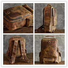 Load image into Gallery viewer, Outdoorsman's Saddle Leather Hiking & Travel Backpack Premium Leather