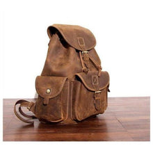Load image into Gallery viewer, Outstanding Brown Leather Hiking Backpack Premium Leather