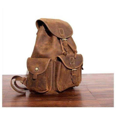 Outstanding Brown Leather Hiking Backpack