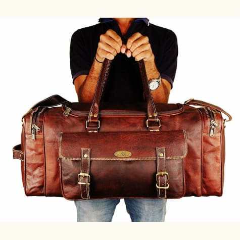 Overnight Weekender Leather Duffel Bag Premium Leather