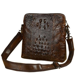 Patterned Vintage Leather Cross Body Messenger Bag Premium Leather