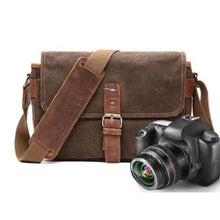 Load image into Gallery viewer, Photographer's Canvas Camera Bag Waterproofed & Waxed Premium Leather
