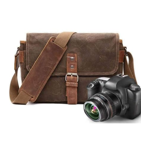 Photographer's Canvas Camera Bag Waterproofed & Waxed Premium Leather