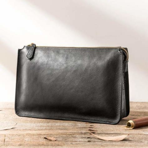 Plush Leather Clutch/wrist Bag Made W/full Grain Cowide Premium Leather