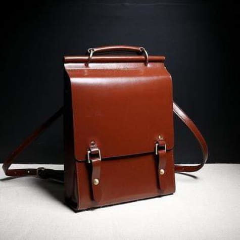Polished Classic Leather Rucksacks/backpack & Purse Red Premium Leather