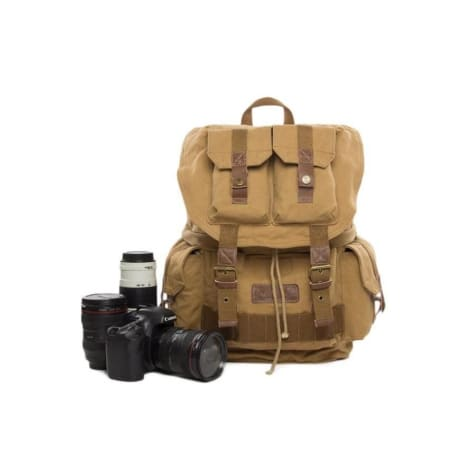 Professional Waxed Canvas Dslr Camera Bag & Backpack Premium Leather