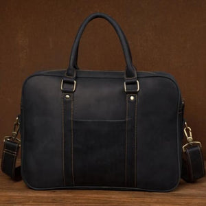 Pukka Crazy Horse Leather Laptop/messenger Bag Navy Premium Leather