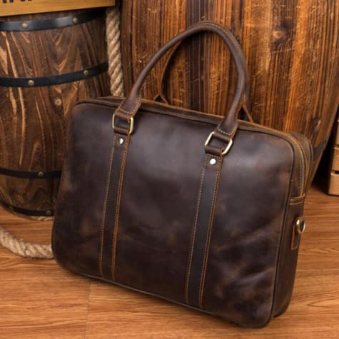 Pukka Crazy Horse Leather Laptop/messenger Bag Dark Brown Premium Leather