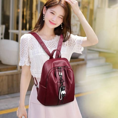 Pure Authentic Leather Backpack Travel Pack Rucksack Winered Premium Leather
