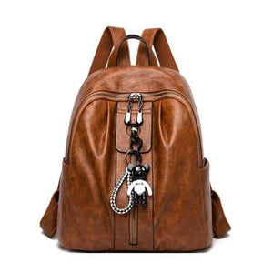 Pure Authentic Leather Backpack Travel Pack Rucksack Brown Premium Leather