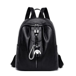 Pure Authentic Leather Backpack Travel Pack Rucksack Black Premium Leather