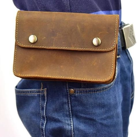 Réale Crazy Horse Leather side Saddle Belt Bag Brown1 Premium Leather