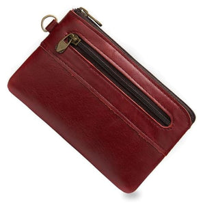 Retro Authentic Leather Pouch Wrist Wallet Coin Purse Red Premium Leather